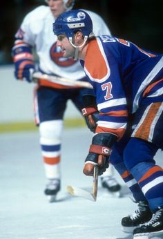 faac81bd3 Paul Coffey of the Edmonton Oilers defends during an NHL game against the  New York Islanders