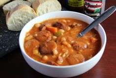 Spicy Sausage and Bean Stew - crock pot cuisine for game day