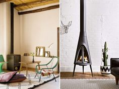 Freestanding Fire   Standing fireplace, Cast iron stove and Cast iron
