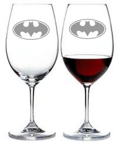 YES! Batman Wine Glass Set of 2 Sand Carved etched by WulfCreekDesigns, $29.95