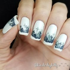 3-D Snowy Graveyard Nails!