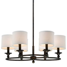 Large drum shade chandelier link below httpswayfair buy the quoizel leathered bronze direct shop for the quoizel leathered bronze adams 6 light wide chandelier with fabric cylinder shade and save aloadofball Choice Image