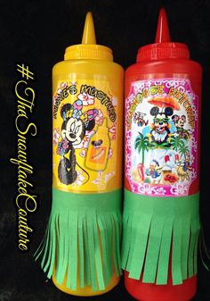 Mickey Minnie Hawaiian Luau Party Ketchup and Mustard Squeeze Bottles