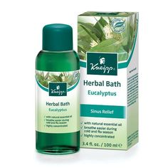 Herbal Bath Eucalyptus by Kneipp   A bath treatment with essential oils that relieve cold and flu symptoms.