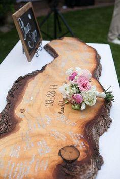 Wooden Bench wedding guest book - Unique wedding reception ideas on a budget