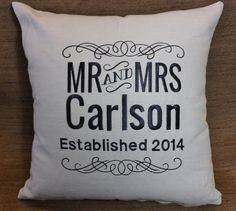 Mr. & Mrs. Anniversary or Wedding Pillow Gift by ElegantThreadsEtc