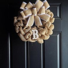Check out this item in my Etsy shop https://www.etsy.com/listing/267601120/small-burlap-monogram-wreath-mini-burlap