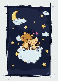 Bear & Kitten Sitting On A Cloud