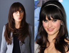 HOW do we get bangs like this? Seriously, we've tried. HARD. Zooey's bangs are always the jumping point for ladies who see them and are suddenly consumed by fervent fringe envy. It takes a special hair type to be able to pull off these thick and heavy bangs but Zooey Deschanel's hair makes it seem as though she was made for this style. Zooey naturally has super thick hair which helps to pull her bangs down as there's so much weight in them.