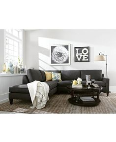 Alanis Fabric Sectional - charcoal - Macy's (and lamp) Living Room Paint, New Living Room, Living Room Sets, Living Room Modern, Home And Living, Living Room Furniture, Home Furniture, Living Room Decor, Furniture Sets