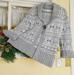 Dressbarn Shawl Collared Southwest Inspired Sweater M Gray Winter White #Dressbarn #Cardigan