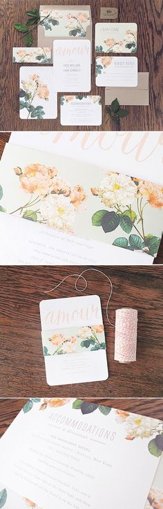Pastel peach floral wedding stationery / invitation with kraft paper envelopes and calligraphy lettering
