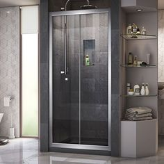 Buy the DreamLine Chrome with Black Base Direct. Shop for the DreamLine Chrome with Black Base Butterfly High x Wide Deep Bi-Fold, Sliding Framed Shower Door with Clear Glass, SlimeLine Shower Base Kit, and Center Drain and save. Bifold Shower Door, Framed Shower Door, Frameless Sliding Shower Doors, Sliding Door, Dreamline Shower, Small Bathroom Renovations, Bathroom Ideas, Shower Base, Glass Shower