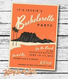PRINTABLE Bachelorette Party INVITATION Digital PDF Wedding Vintage Retro Miami Hawaii Hawaiian destination invite birthday Luau Tiki diy