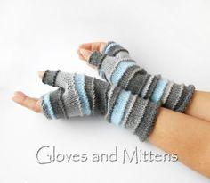 Handschuhe - Grau Halbhandschuhe, Armstulpen, Pulswärmer. - ein Designerstück…