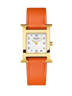 0585a0a1b26 HERMÈS WATCHES Heure H Goldtone Stainless Steel  amp  Leather Strap Watch Orange.
