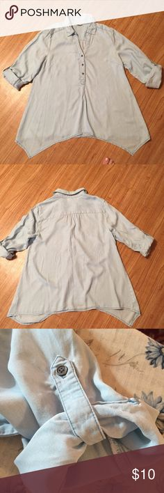 Style & Co Chambray Blouse size L Oh so soft chambray blouse with convertible sleeves. Asymmetric hem. Washed/faded denim color. Size L Very comfy! Style & Co Tops Blouses