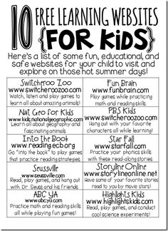 10 Free learning websites {for kids} go here to see all the links:  http://ayearofmanyfirsts.blogspot.ca/2013/05/summer-review-websites-for-kids.html    .  .  .  .  click the pin itself to find out about a great stay-at-home business that you can run with fellow pinners.