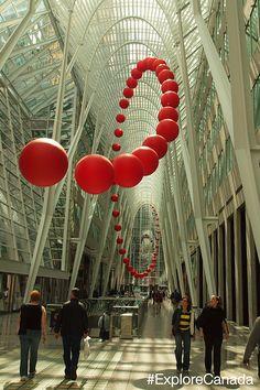 See the six story high arches of the Allen Lambert Galleria in Brookfield Place, Toronto. Designed by Spanish architect Santiago Calatrava. @explorecanada