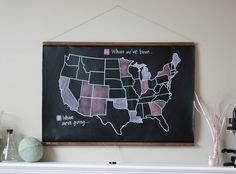 Chalkboard map of the USA -- you fill in where you've been! Traveling With Baby, Traveling By Yourself, Chalkboard Fabric, United States Map, 50 States, Chalk Holder, You Doodle, Us Map, State Map