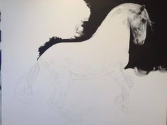 """Pop-Up Equine Art Lesson with Tony O'Connor 'Power' Part 4/10: Well its a start. And the other horsey has been drawn in too! Both canvases are 39""""x47"""" apiece so should have the 'wow' factor if I get them right! No pressure."""