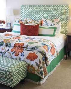 Duvet cover and pillows in Schumacher Celerie Kemble Hot House Flowers 174031