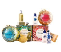 Verbena & Shea Ornament Duo  Each sphere contains four miniatures of the brand's popular shea butter and verbena products including hand cream, soap, lotion, shower cream, and body lotion. ($28, Usa.loccitane.com)