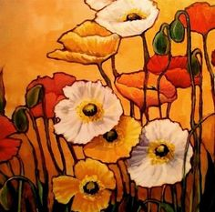 "Daily Paintworks - ""Flower Art Painting 12 Poppies by Colorado Mixed Media Abstract Artist Carol Nelson"" - Original Fine Art for Sale - © Carol Nelson"