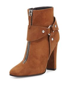 Suede Zip-Front Ankle Bootie, Falcone by Giuseppe Zanotti at Neiman Marcus.