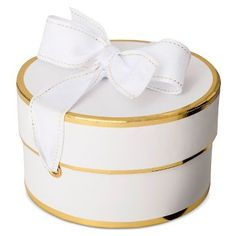 Sugar Paper® White/Gold Small Round Gift Box with Ribbon