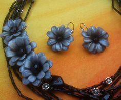 Chrysanthemum necklace  Chrysanthemum earrings  Handmade by insou, $73.00