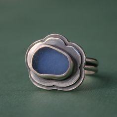 Sea Glass Ring Hawaiian Jewelry Cornflower Blue by KiraFerrer.  via Etsy.