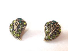 Vintage Emerald Peridot Earrings Green 60s Clip  by HeiressVintage