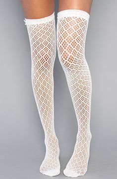 Diamond Crochet Thigh High Socks with Bow in Ivory