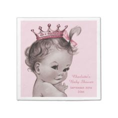 Vintage Princess Baby Shower Personalized Disposable Napkins