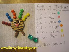 Savvy Spending: Roll-A-Turkey Preschool Game (plus a use for Halloween candy)!