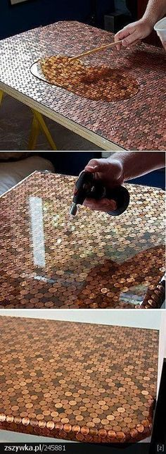 Love this DIY penny table! With pennies going away this would be a super cool wa… Love this DIY penny table! With pennies going away this would be a super cool way to keep them around, and im sure be an antique soon enough lol Penny Table, Deco Restaurant, Kitchen Table Makeover, Resin Table, Diy Resin Coffee Table, Diy Furniture, Plywood Furniture, Refurbishing Furniture, Homemade Furniture