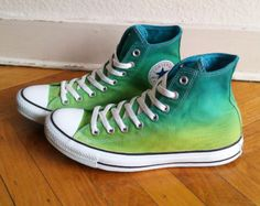 New pair! Tropical green ombre Converse, dip dye sneakers, All Stars, Chucks, uk 9 (eu 42.5, us wo 11, us mens 9)