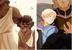 """You were my brother."" // ""He was everything I had"" - Damen and Laurent (from the Captive Prince trilogy by C. S. Pacat) with their respective brothers. Art by srslyarts on Tumblr."