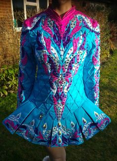 Cute Turquoise Gavin Doherty Irish Dance Dress Solo Costume For Sale