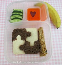 Bento Lunch: Simple #Puzzle #Bento #MiniDippers @EasyLunchboxes www.facebook.com/BentoSchoolLunches