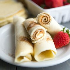 Simple pancakes made super thin and rolled with cinnamon sugar. A great on-the-go breakfast!