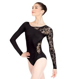 Natalie Long Sleeve Leotard with Lace Sleeve and Insert- Love the lace!
