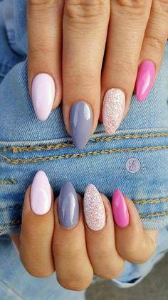 Just Nails # Nagellack # Gelnägel # Thumbnail Design # Nageldesign - ALLES - Yorgo Acrylic Nails Natural, Cute Acrylic Nails, Acrylic Nail Designs, Cute Nails, Nail Art Designs, Nails Design, Pastel Nails, Pink Nails, Stylish Nails