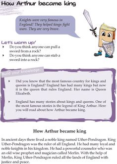 Grade 4 Reading Lesson 21 Myths And Legends – How Arthur Became King