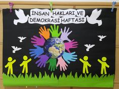 Like Tutorial and Ideas Art Bulletin Boards, International Day Of Peace, Art Projects, Projects To Try, Board Decoration, School Decorations, Preschool Activities, Special Day, Diy And Crafts