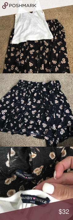White crop top & sunflower skirt -white crop, only flaw is mini orange spots under armpits (will come out of use stain remover) (spray tan) and new worn once sunflower skirt duo package, 60$ value Brandy Melville Tops Crop Tops