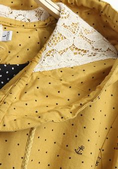 Yellow Polka Dot Lace Cotton Blend Trench Coat