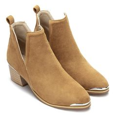 Yellow Cut Out Block Heel Ankle Boots - US$55.95 -YOINS