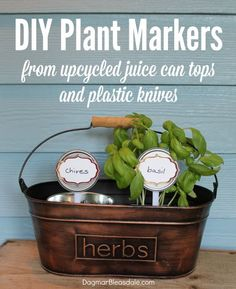 Make these easy plant markers with juice can tops and plastic knives ...